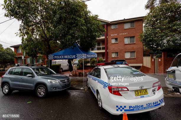 Police attend an apartment complex in Sproule Street Lakemba on July 31 2017 in Sydney Australia Counter terrorism police raided four houses across...