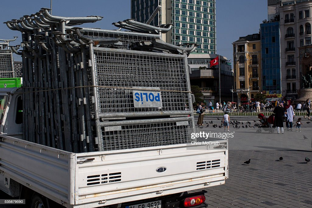Police barricades are seen on trucks in Taksim Square on the eve of the 3rd anniversary of the Gezi Park protests on May 30, 2016 in Istanbul, Turkey. The protests began on May 28, 2013 to contest the planned urban development of Gezi Park however larger protests started after police evicted protesters from the park sparking weeks of civil unrest.