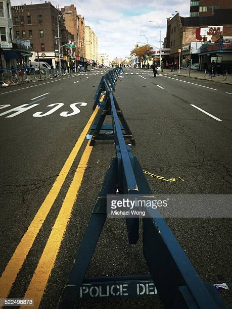Police barricades for the 2014 NYC marathon mile 3 in Brooklyn