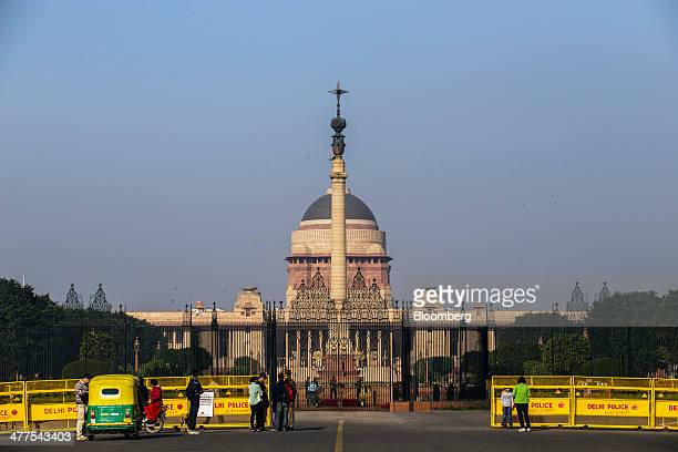 Police barricades guard the entrance of the Presidential Residence in New Delhi India on Saturday March 8 2014 India will start voting next month to...