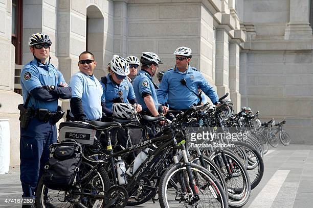 Police Bike Patrol Unit stands by at Protest
