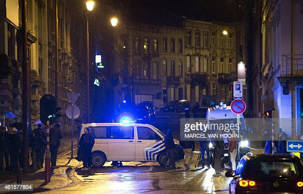 Police block Colline street in Verviers eastern Belgium on January 15 after two were reportedly killed during an antiterrorist operation Belgian...
