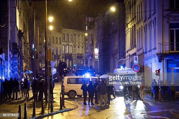 Police block Colline street in Verviers eastern Belgium on January 15 after two were killed during an antiterrorist operation Belgian police launched...