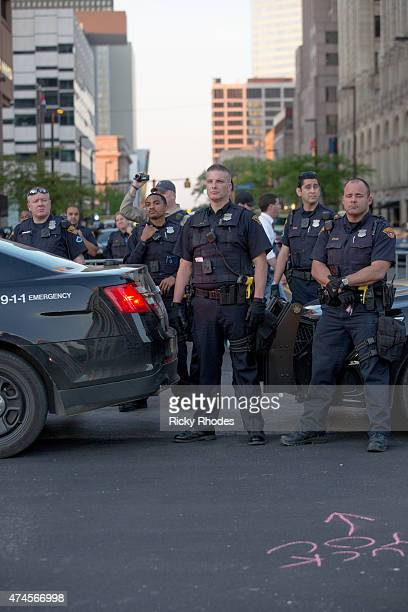 Police block Lakeside Ave during demonstrations in reaction to Cleveland police officer Michael Brelo being acquitted of manslaughter charges after...