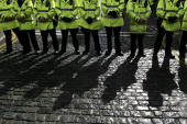 Police block off streets surrounding the hotel of US Secretary of State Condoleezza Rice on 31 March 2006 Liverpool England The US Secretary of State...