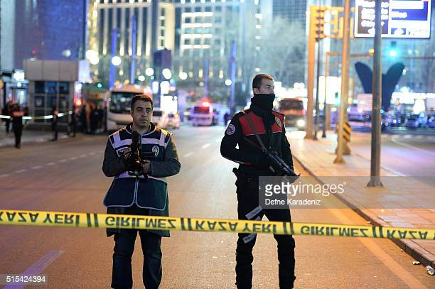 Police blocks all the roads leading to the scene of an explosion on March 13 2016 in Ankara Turkey The Ankara governor's office has reported that at...