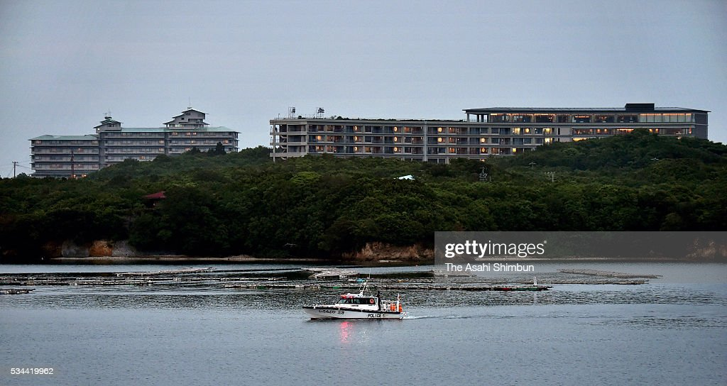 A police boat patrols sea near the Shima Kanko Hotel, the main venue of the Group of Seven summit during the Group of Seven summit at Ise Shrine on May 26, 2016 in Shima, Mie, Japan. The 2-day Group of Seven summit takes place to discuss key global issues such as global economy and counter terrorism measures.