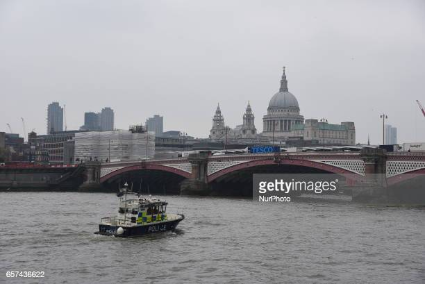 A police boat patrols the River Thames near the London Eye on March 24 2017 in London England A fourth person has died after Khalid Masood drove a...