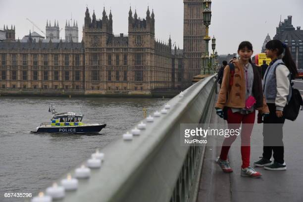 A police boat patrols the River Thames near Westminster Bridge on March 24 2017 in London England A fourth person has died after Khalid Masood drove...