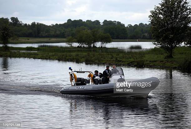 A police boat patrols water close to the Kellyhevlin Hotel which is being used as the G8 media centre close to the G8 venue of Lough Erne on June 16...