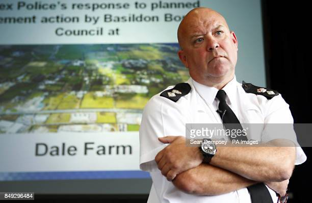 A police briefing on operation Cabinet in response to enforce action by Basildon borough council at the travellers site at Dale farm at Crays hill...