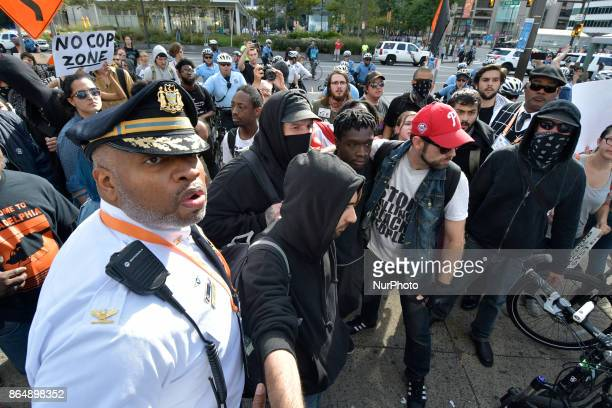 Police brutality protest turns violent when officers of the Philadelphia Police Dept clash with protestors in Center City Philadelphia PA on October...