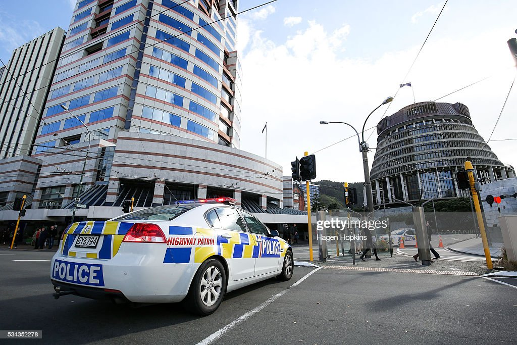 A police car blocks a portion of Lambton Quay following an incident at Parliament on May 26, 2016 in Wellington, New Zealand. Police have blocked off the Parliamentary forecourt and the front entry point because of a truck stationed outside the Beehive, and have taken a man into custody following the incident on Thursday morning, the day of the national Budget release.