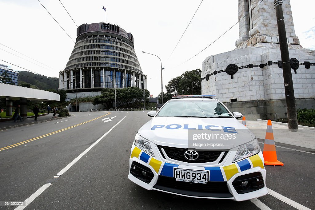 A police car blocks Bowen Street following an incident at Parliament on May 26, 2016 in Wellington, New Zealand. Police have blocked off the Parliamentary forecourt and the front entry point because of a truck stationed outside the Beehive, and have taken a man into custody following the incident on Thursday morning, the day of the national Budget release.