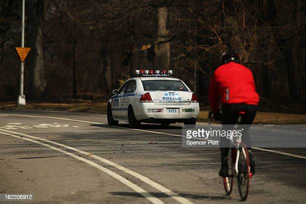 A police car drives through Prospect Park in Brooklyn on February 20 2013 in New York City In newly released statistics New York's largest parks...