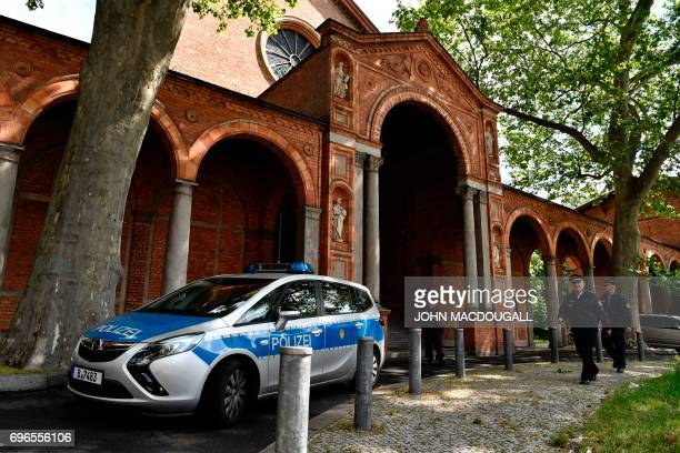 A police car is parked in front of the St Johannis Protestant church which houses the Ibn RushdGoethemosque in Berlin on June 16 2017 Founded by...