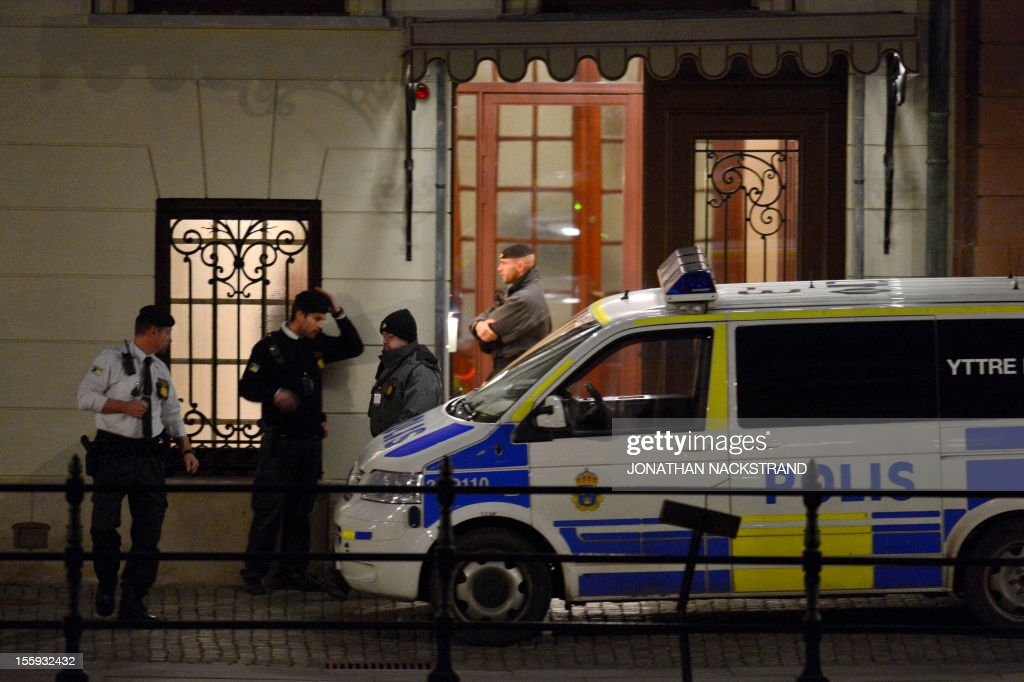 A police car is parked in front of the Swedish Prime Minister residence Sagerska Palace on November 9, 2012 in Stockholm. A man was found dead inside Swedish Prime Minister Fredrik Reinfeldt's central Stockholm home, police told AFP, after media reports that he was a security guard who had killed himself.