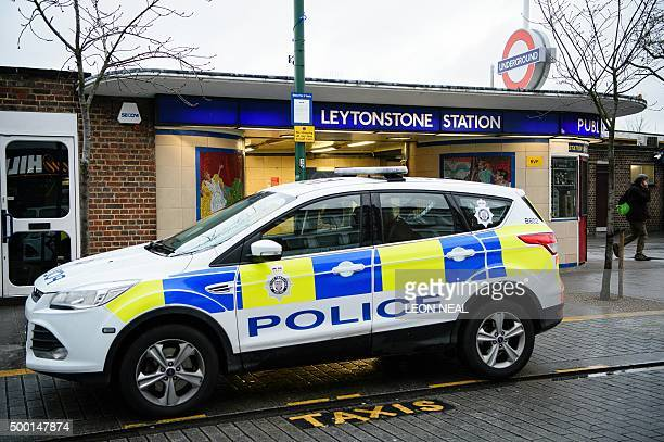 A police car is seen parked outside Leytonstone station in north London on December 6 2015 Police were called to reports of people being attacked at...