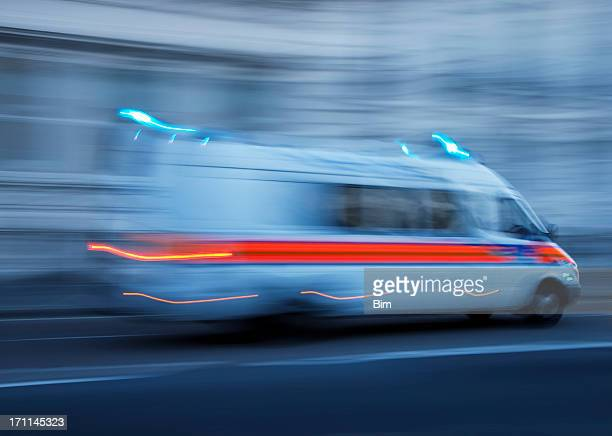 Police Car or Ambulance Speeding, Blurred Motion, London, England