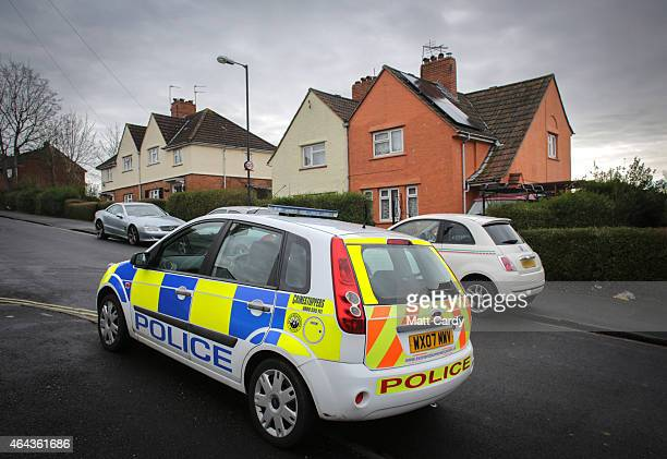 A police car sits outside the home of missing teenager Rebecca Watts on February 25 2015 in Bristol England Concerns are growing for the 16yearold...