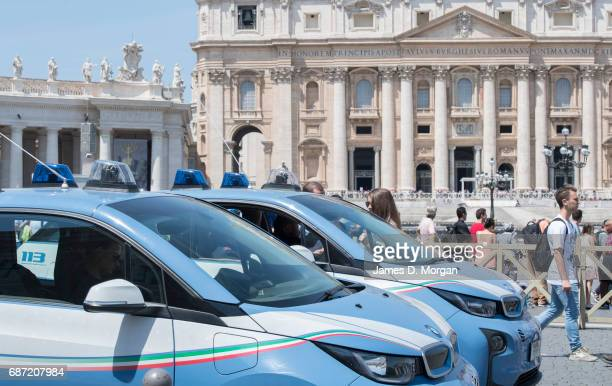 Police cars are parked in St Mark's Square on May 23 2017 in Vatican City Vatican Security is on its highest level as the visit of United States...