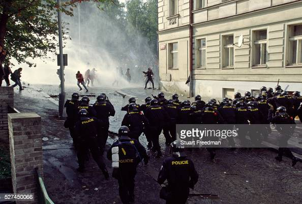 Police charge and use water cannon during the Anto Globalisation riots protesting the World Bank and International Monetary Fund meetings Prague...