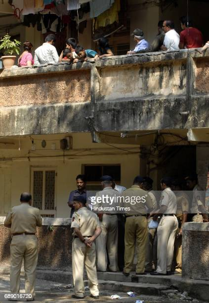 Police checking the spot where Vijay Murudkar Assistant Sub Inspector Bandra police Station jumped down the terrace commiting suicide morning