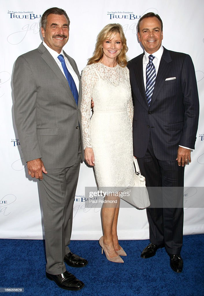 Police chief Charlie Beck, Tina Caruso and real estate developer Rick J. Caruso attend The Los Angeles Police Foundation's 15th Anniversary True Blue Gala at Paramount Studios on May 2, 2013 in Hollywood, California.
