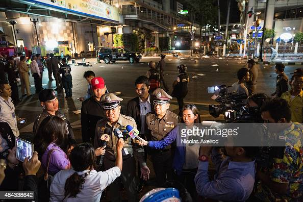 Police chief Somyot Poompanmoung is interviewed by the press at the scene of an explosion on August 17 2015 in Bangkok Thailand A large explosion...