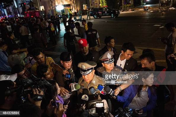 Police chief Somyot Poompanmoung is interviewed by the press on August 17 2015 in Bangkok Thailand A large explosion believed to be from a bomb has...