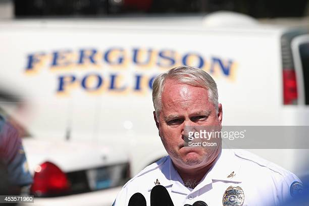 Police Chief Thomas Jackson fields questions related to the shooting death of teenager Michael Brown during a press conference on August 13 2014 in...