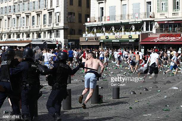 Police clash with England fans ahead of the game against Russia later today on June 11 2016 in Marseille France Football fans from around Europe have...