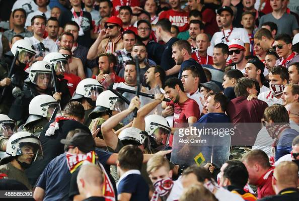 Police clash with fans prior to the UEFA Champions League Group F match between Olympiacos FC and FC Bayern Munchen at Karaiskakis Stadium on...