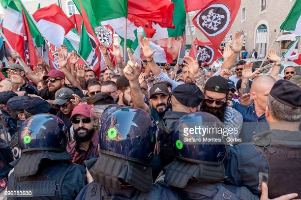 Police clash with protesters during the sitin of CasaPound near the Senate against the law on 'Jus Soli' the law which grants citizenship to the...