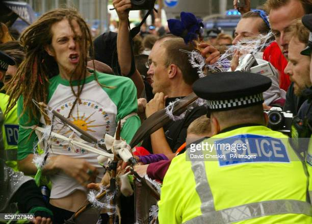 Police clash with protesters in the financial centre of Edinburgh as anticapitalist demonstrators took to the streets of Scotland's capital ahead of...