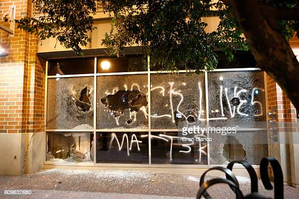 Police clash with protestors as residents and activists protest the death of Keith Scott September 21 2016 in Charlotte North Carolina Keith was shot...