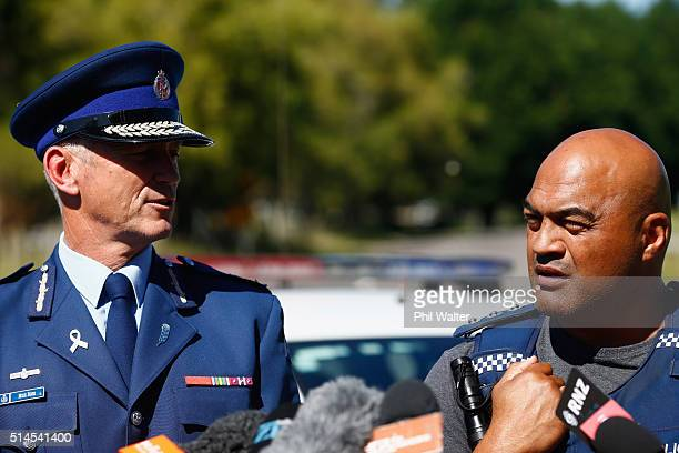 Police Commissioner Mike Bush and Taupo District Area Commander Warrick Morehu hold a press conference at the police roadblock on the outskirts of...