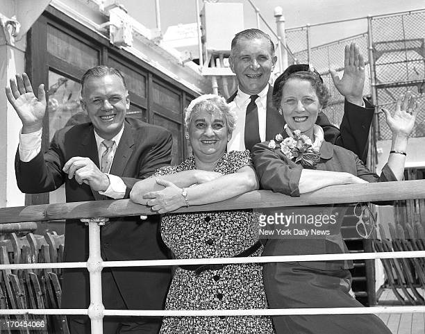 Police Commissioner Stephen Kennedy his wife and former Police Commissioner Francis WH Adams and Mrs Adams wave farewell from Mauretania at Pier 90