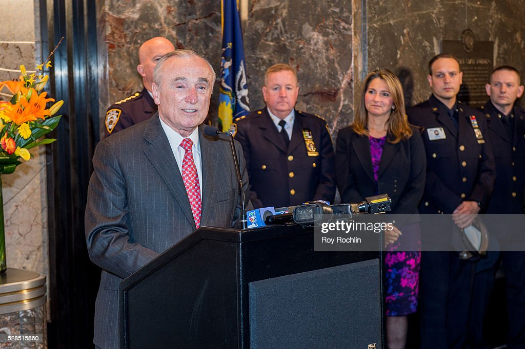 Police Commissioner William Bratton speaks during the lighting of the ceremony Empire State Building in honor of Police Memorial Week on May 5, 2016 in New York City.
