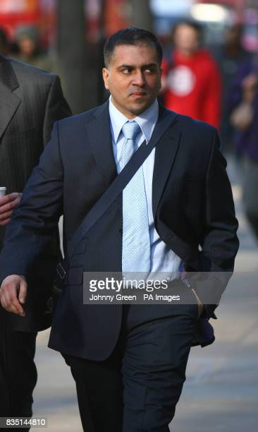Police Community Support Officer Asad Saeed arrives at Victory House in central London where he was due to appear at an employment tribunal