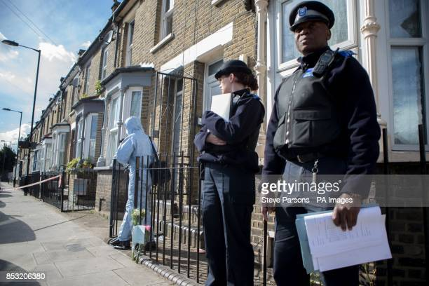 Police community support officers at the scene in Eastway Hackney east London where a teenage girl named as Shereka Marsh died after a shooting...
