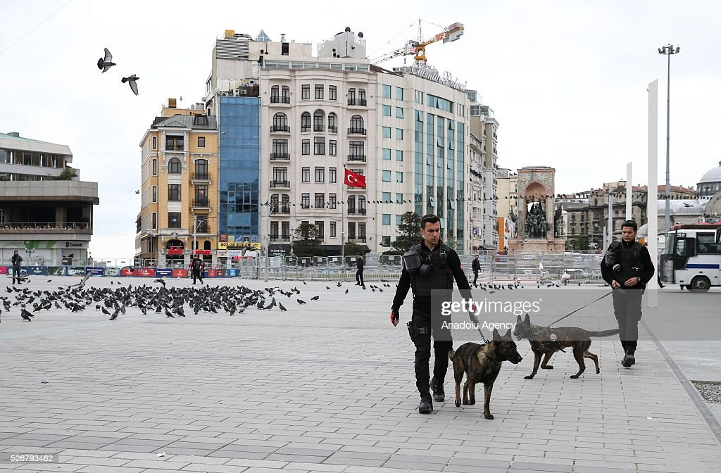 Police conducts security check at Taksim Square as May Day demonstrations in Istanbul have not been allowed to take place at the city's famous square site by the authorities as main celebrations continue at an open market area in the Bakirkoy neighborhood located on the city's European side on May 01, 2016 in Istanbul, Turkey. Every year, May Day is observed and commemorated as an official holiday under the name 'May 1, Labour and Solidarity Day' all around Turkey.