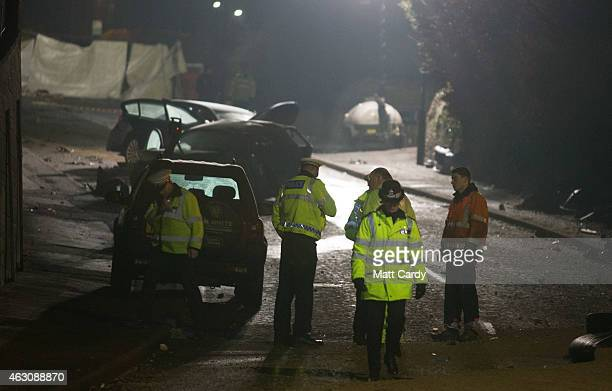 Police continue their investigations at the scene of a fatal road traffic collision involving a lorry and a number of cars on February 9 2015 in Bath...