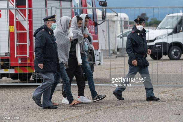 PORT CORIGLIANO CALABRIA ITALY Police control during the landing from the vessel Vos Hestia of Save The Children in the port of Corigliano Calabria...