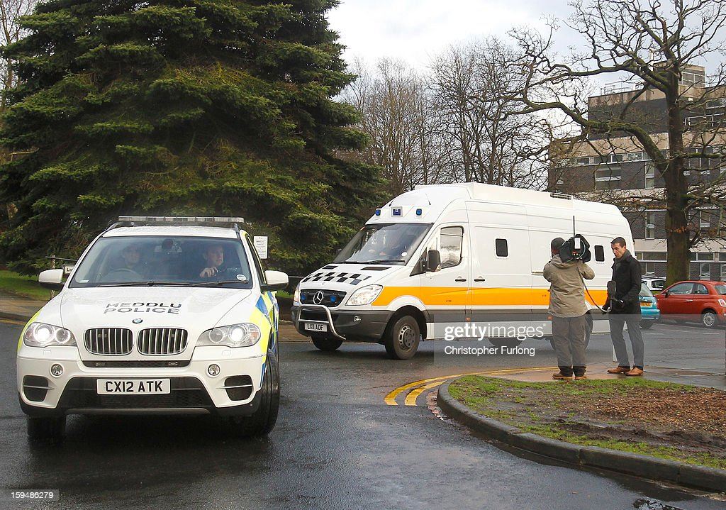 A police convoy transports Mark Bridger as he leaves Mold Crown Court after pleading not guilty to the murder of April Jones on January 14, 2013 in Mold, Wales. Mark Bridger, 47, denied three charges which include the murder, abduction and attempting to pervert the course of justice following the disappearance of five-year-old April Jones in Machynlleth, Powys, on October 1, 2012.