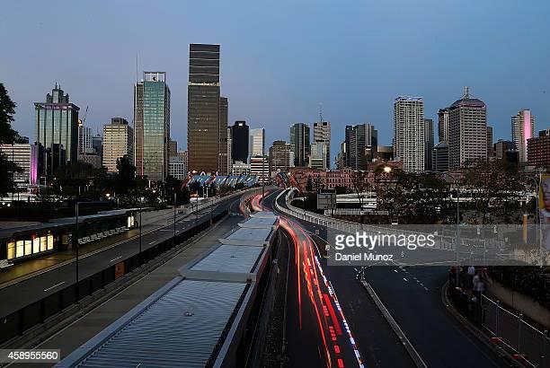Police convoy travels towards the CBD on November 14 2014 in Brisbane Australia World economic leaders will travel to Brisbane for the G20 Leadership...