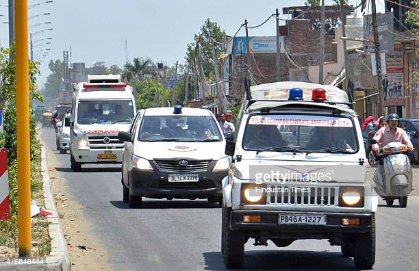 Police convoy with Ambulance carrying Khalistani terrorist Devinder Pal Singh Bhullar to Guru Nanak dev Hospital for medical on June 12 2015 in...