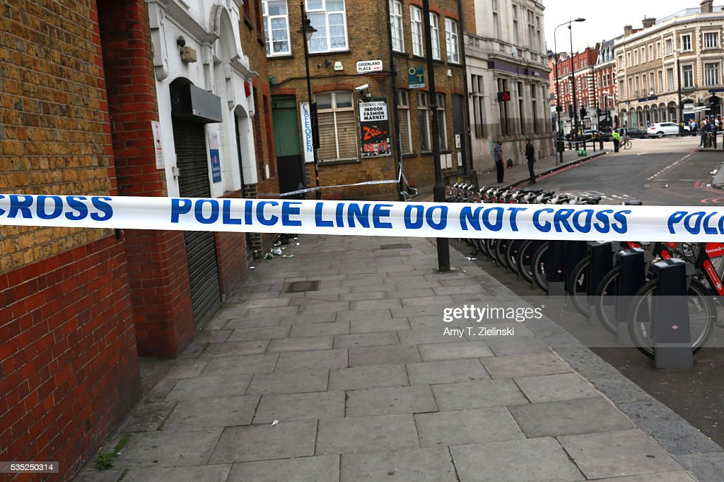 Police cordon off section of Greenland road as a murder investigation is underway in Camden on May 29, 2016 in London, England. Reportedly a stabbing took place in the area leaving one man dead after being taken to the hospital.