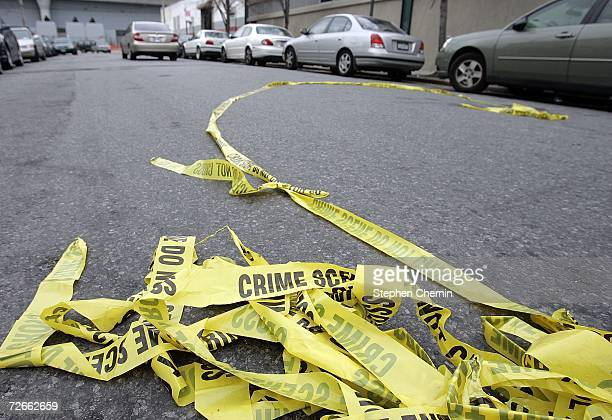 Police crime scene tape lies in the street outside Club Kalua club where Sean Bell was shot and killed November 28 2006 in Jamaica Queens New York...