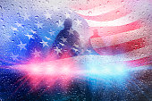 Police crime scene, rain background with police lights and american flag